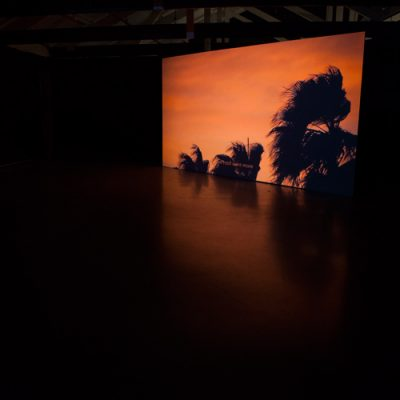 Paradise Fallen installation view: video, Ile Aux Serpents, 28 min, HDV 1080ip looped, 2018